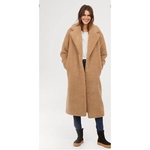 H&M L.O.G.G Long Pile Teddy Coat Beige Size Large